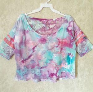 Aeropostale tie dyed lace crop top size large
